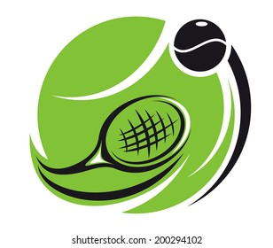 Stylized tennis icon logo with a green tennis ball superimposed with a curved racket and ball with motion trails, isolated on white