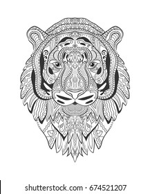 Dream Catcher Wolf Tattoo Adult Antistress Stock Vector Royalty