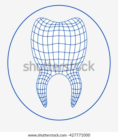 Stylized Tooth 3 D Grid Template Logotype Stock Vector Royalty Free