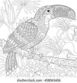 Stylized toucan bird sitting on palm tree branch among hibiscus flowers. Freehand sketch for adult anti stress coloring book page with doodle and zentangle elements.
