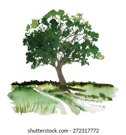 A stylized tree hand-painted with watercolors