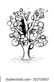 stylized tree with hands. oak. fabulous tree. surrealism.