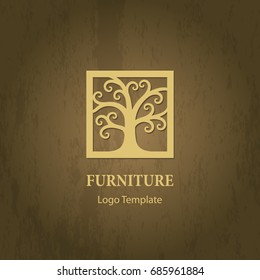 Stylized tree logo template. Abstract swirly tree in a frame silhouette. Wood furniture logo design element. Vector illustration.