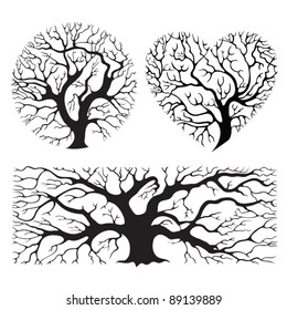 Stylized tree silhouettes