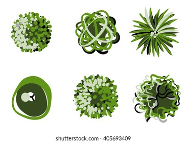 Stylized tree top view collection. Trees vector.