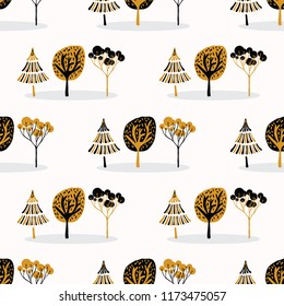 Stylized Tree Wood Repeating Seamless Pattern, Hand Drawn Vintage Style Nature lllustration of Folk Art Forest for Fabric, Scrapbooking, Fashion Prints Textiles, Retro Wallpaper, Modern Pop Stationery