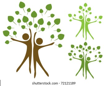 Stylized trees in the form of human figures the concept of ecology
