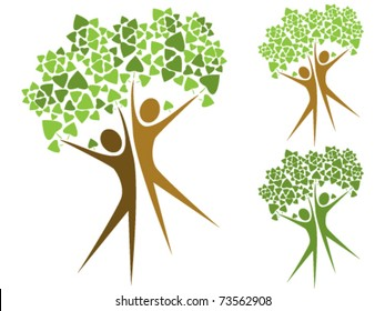 Stylized trees in the form of human figures- the concept of ecology