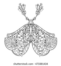 Stylized Tropical Lace Butterfly Of ParadiseHand Drawn Vector Illustration Sketch For Tattoo Or