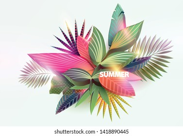 Stylized tropical leaves. Summer floral design