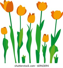 Stylized  tulips. Fully editable - change colors, scale to any size