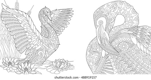 Stylized two beautiful  birds - swan among water lilies (lotus flowers) and flamingo. Set collection for adult anti stress coloring book page with doodle and zentangle elements.