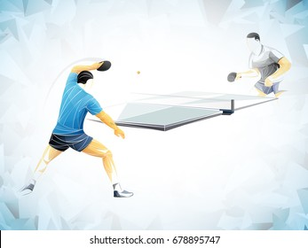stylized two  player table tennis
