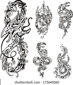 Stylized two-headed dragons. Set of black and white vector illustrations.