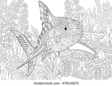 Stylized underwater composition of shark, seaweed, corals and treasure chest full of gold. Freehand sketch for adult anti stress coloring book page with doodle and zentangle elements.