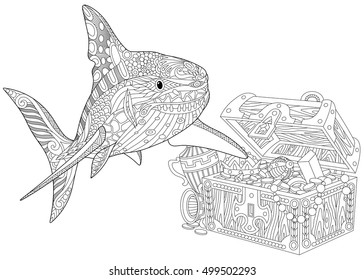 8537094098eec Stylized underwater shark and treasure chest full of gold. Freehand sketch  for adult anti stress