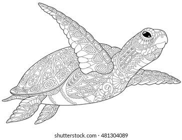 Stylized underwater turtle (tortoise), isolated on white background. Freehand sketch for adult anti stress coloring book page with doodle and zentangle elements.