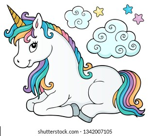 Stylized unicorn theme image 2 - eps10 vector illustration.