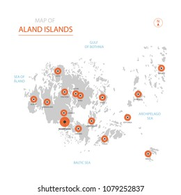 Stylized vector Aland Islands map showing big cities, capital Mariehamn,  administrative divisions.