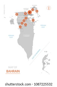 Stylized vector Bahrain map showing big cities, capital Manama,  administrative divisions.