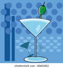 Stylized vector cartoon illustration showing a cocktail martini glass with a funky background