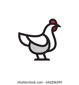 Stylized vector chicken hen - totem mascot tattoo design for t-shirt bag postcard poster and so on.