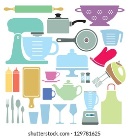 A stylized vector collection of kitchen utensils and appliances.