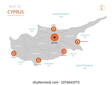 Stylized vector Cyprus map showing big cities, capital Nicosia, administrative divisions.