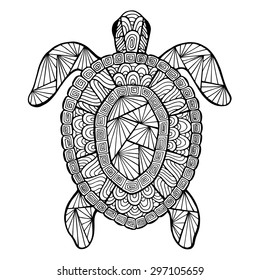 Stylized vector decoration, zen-tangle turtle isolated on white background.
