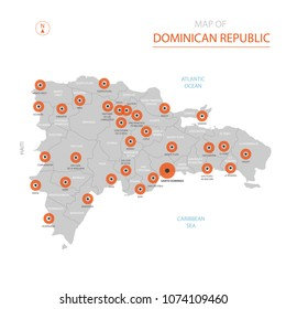 Stylized vector Dominican Republic map showing big cities, capital Santo Domingo, administrative divisions and country borders with Haiti.
