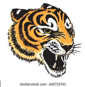 Stylized vector drawing of a tiger's face.