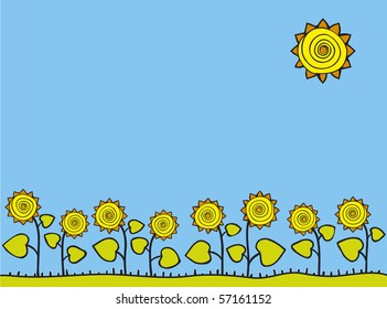 Stylized vector frame. A field of sunflowers sunlit