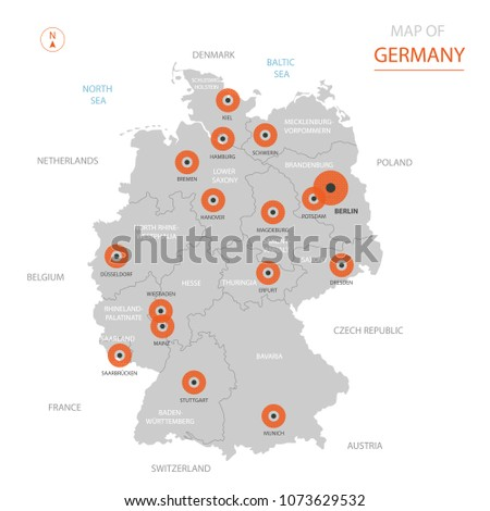 Map Of Germany Netherlands And Belgium.Stylized Vector Germany Map Showing Big Stock Vector Royalty Free