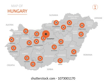 Stylized vector Hungary map showing big cities, capital Budapest,  administrative divisions and country borders with Ukraine, Slovakia, Austria, Croatia, Serbia, Romania.