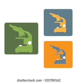 Stylized vector icons of microscope in different colors. Magnifying device sign. Laboratory equipment symbol.