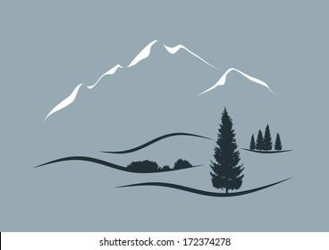 stylized vector illustration of an alpine landscape