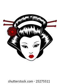 stylized vector illustration of a beautiful geisha girl's face