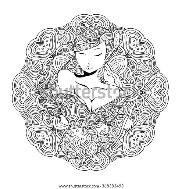 Coloriage Adulte Geisha.Image Vectorielle De Stock De Illustration Vectorielle