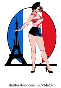 stylized vector illustration of a beautiful pinup in front of a french flag and the Eiffel tower.... flag contained in clipping mask..this is part of a set