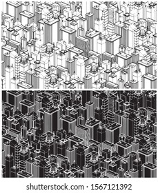 Stylized vector illustration of a big city with modern buildings in isometric View