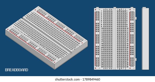 Stylized vector illustration of a breadboard for electronics engineers and enthusiasts