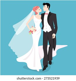 A stylized vector illustration of a bride and her groom.