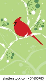 a stylized vector illustration of a cardinal on a snowy branch with berries