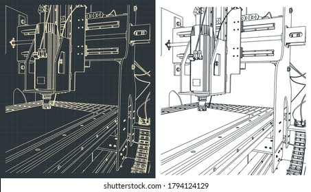 Stylized vector illustration of a CNC milling and lathes machine