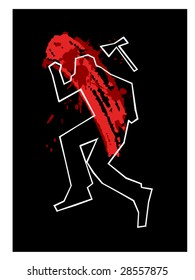 stylized vector illustration of a crime scene... separate layers used for 'splotch and drag' blood effect..
