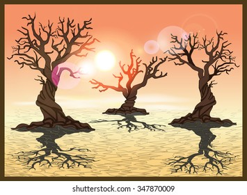 Stylized vector illustration of a desert with cracked earth. Seamless horizontally if needed