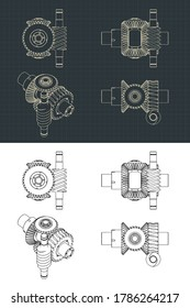 Stylized vector illustration of Differential gear system with worm gear drawings