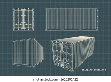 Stylized vector illustration of drawings of cargo containers.
