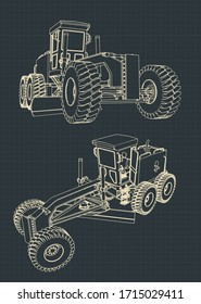 Stylized vector illustration of drawings of a road grader