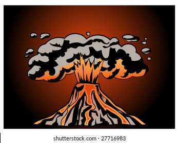 stylized vector illustration of an erupting volcano